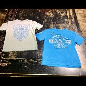 2 boys American fighter shirts